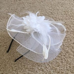 White tulle and feather headband tea party hat
